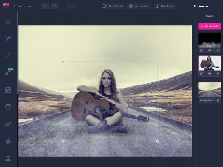 Working with layers, girl and a guitar, image cut