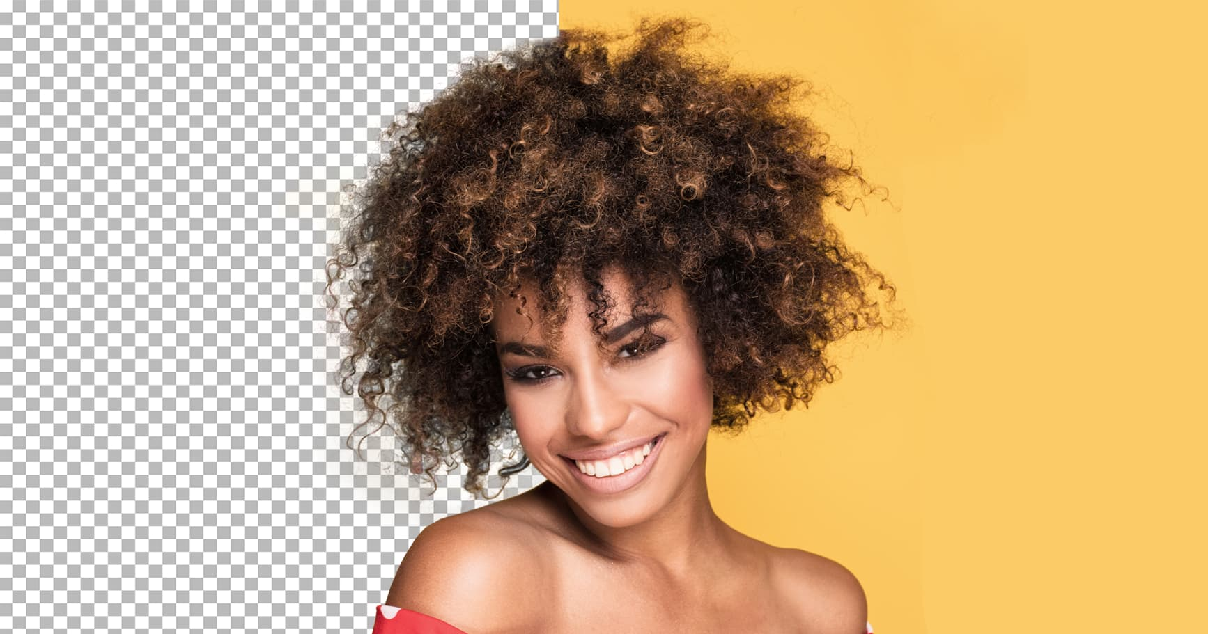 Background erase for curly hair, hair tool