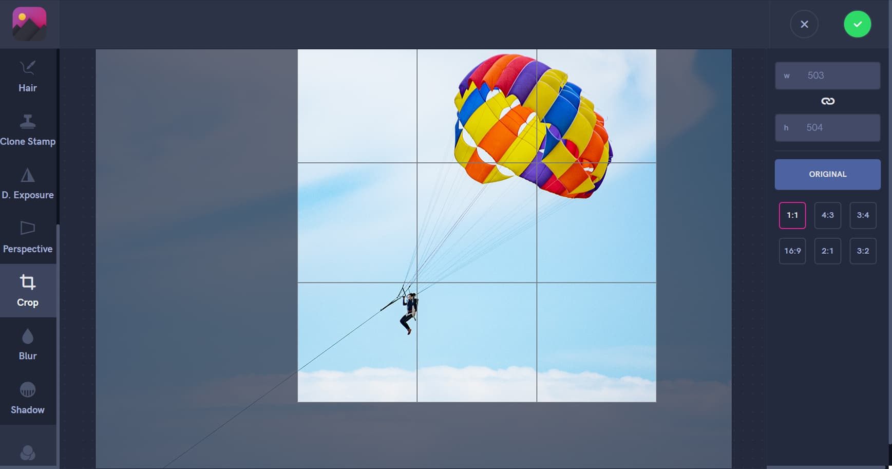 Crop photo, square photo, paragliding, crop ratio, crop square, screenshot
