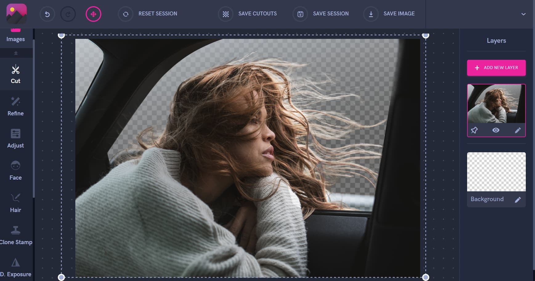 girl looking out of a car window, woman with hair blowing in the wind, cut out hair from images, pixomatic screenshot, tutorial