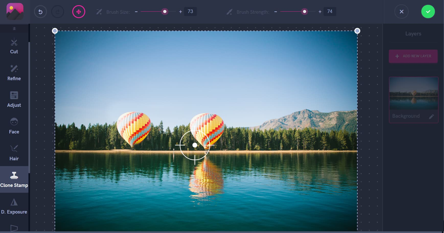 Clone stamp tool, Pixomatic screenshot, cloning an air balloon