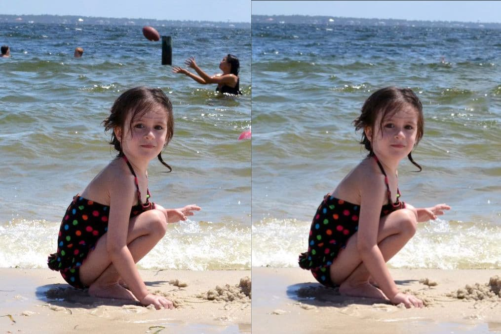 Clone Stamp tool, remove unwanted objects from the background, a little girl on the beach